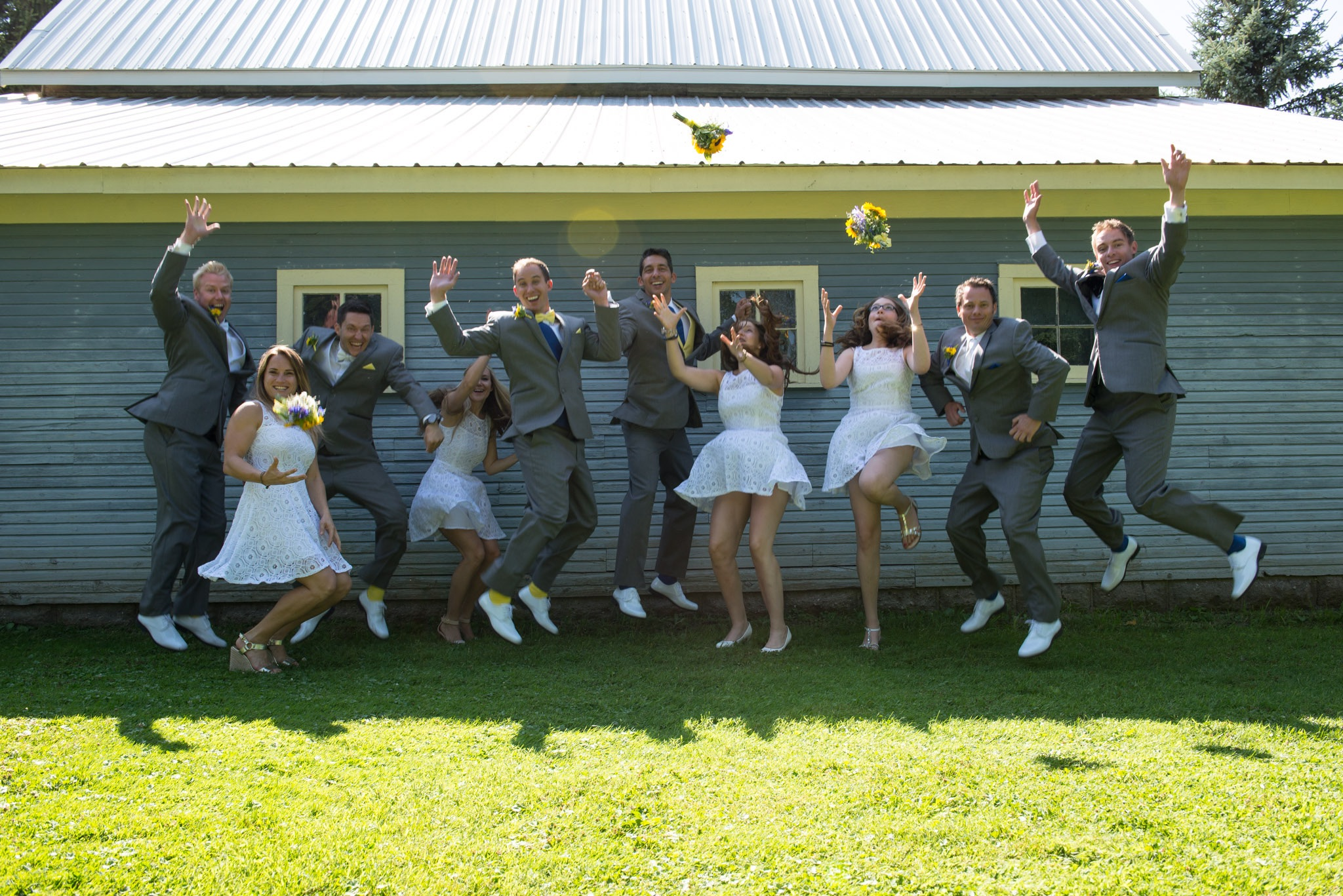 b and m jump wedding